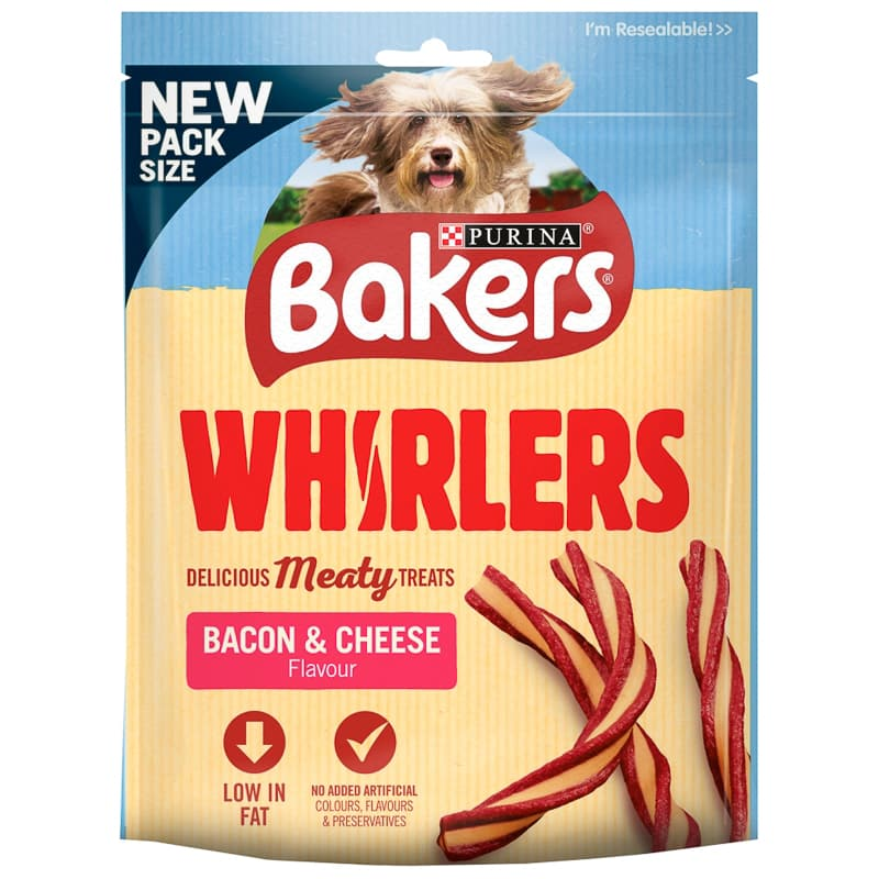 Bakers Whirlers Treats 130g - Bacon & Cheese