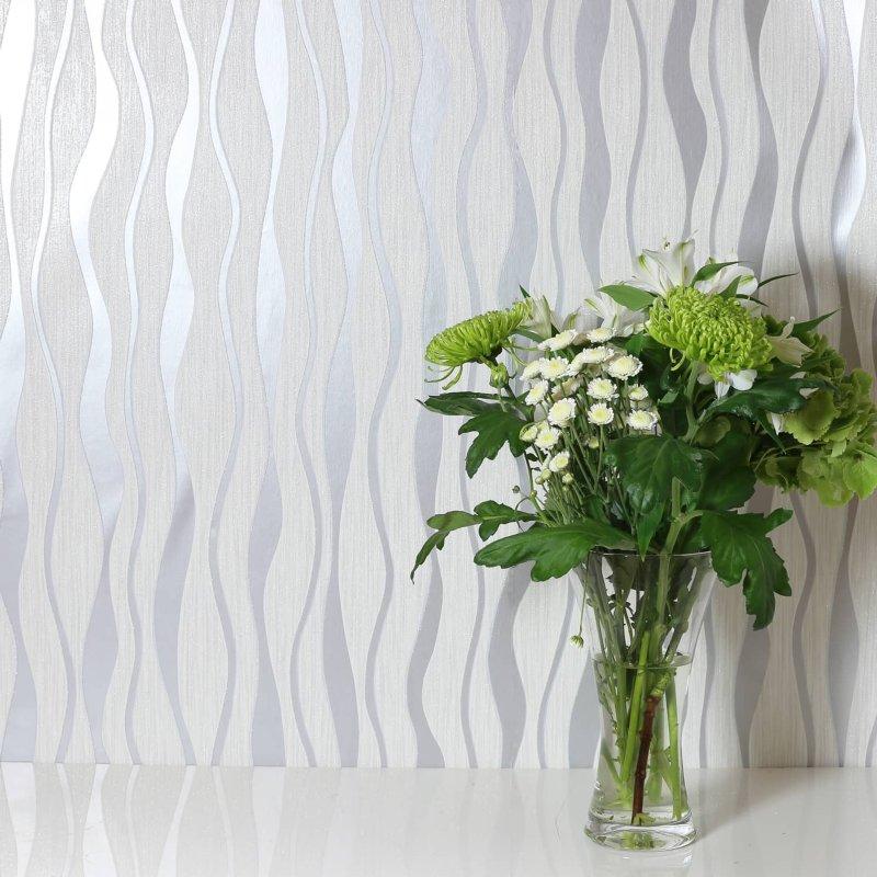 Metallic Wave White Silver Wallpaper Geometric Wallpaper B M
