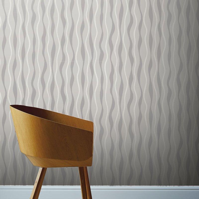 Metallic Wave White Silver Wallpaper Geometric Wallpaper