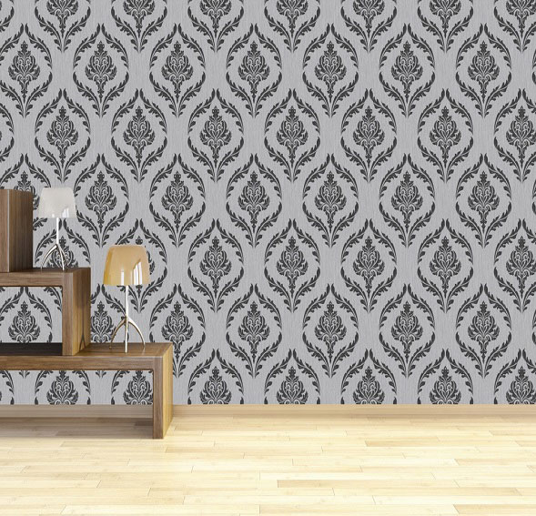 Debona Crystal Damask Wallpaper - Silver/Black - Cheap Damask Wallpaper Styles From B&M Stores