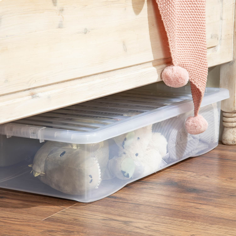 Jumbo Underbed Storage Box with Lid 42L - Clear   Storage ...