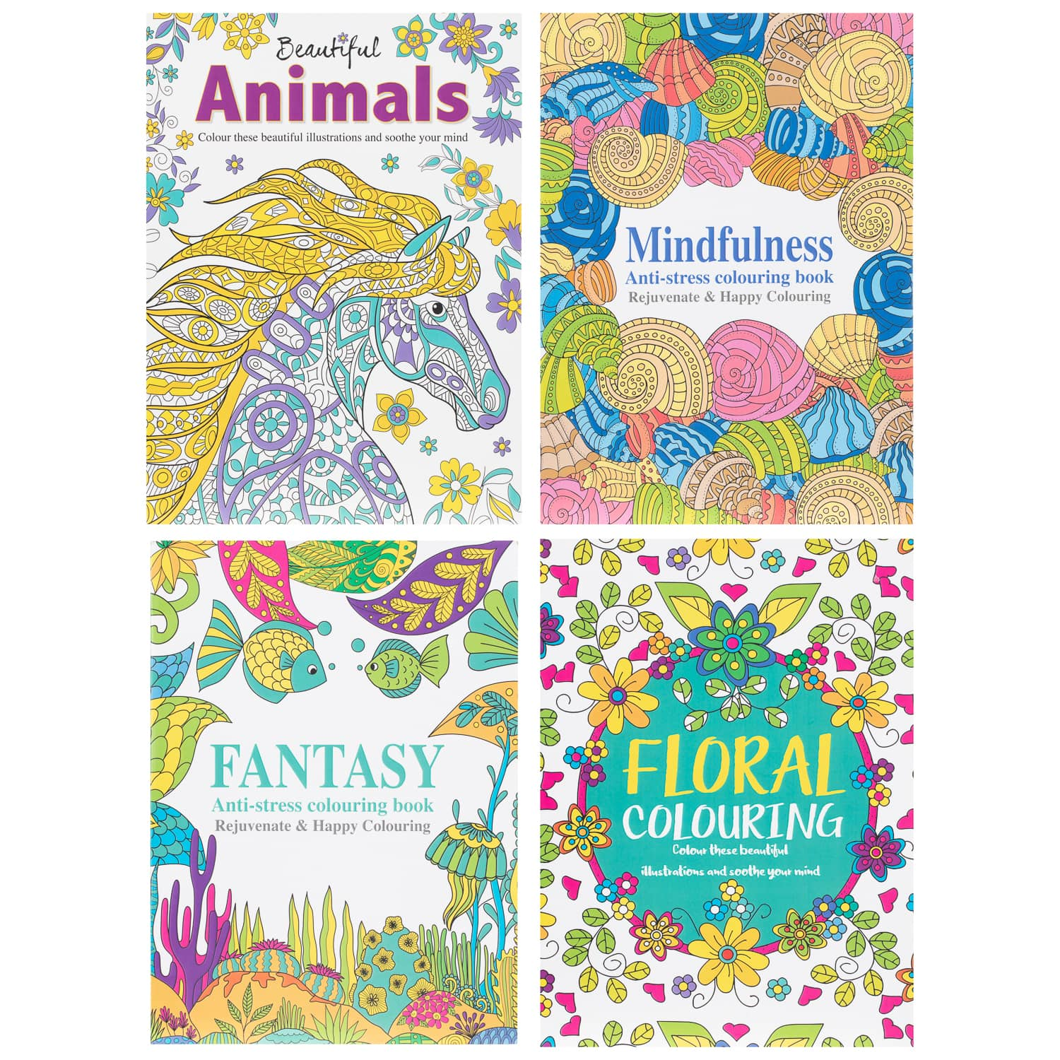 Beautiful Animals Adult Colouring Book | Adult Colouring Books - B&M