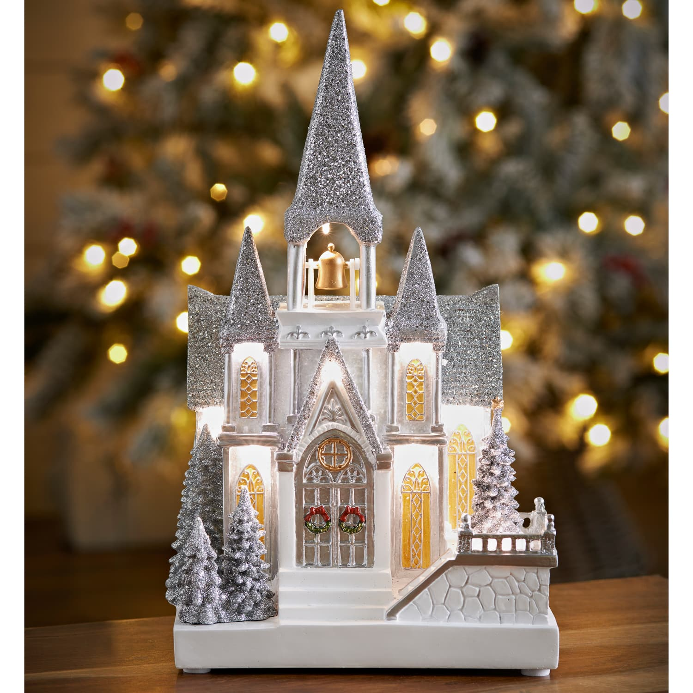 Led Snowy Glitter Church