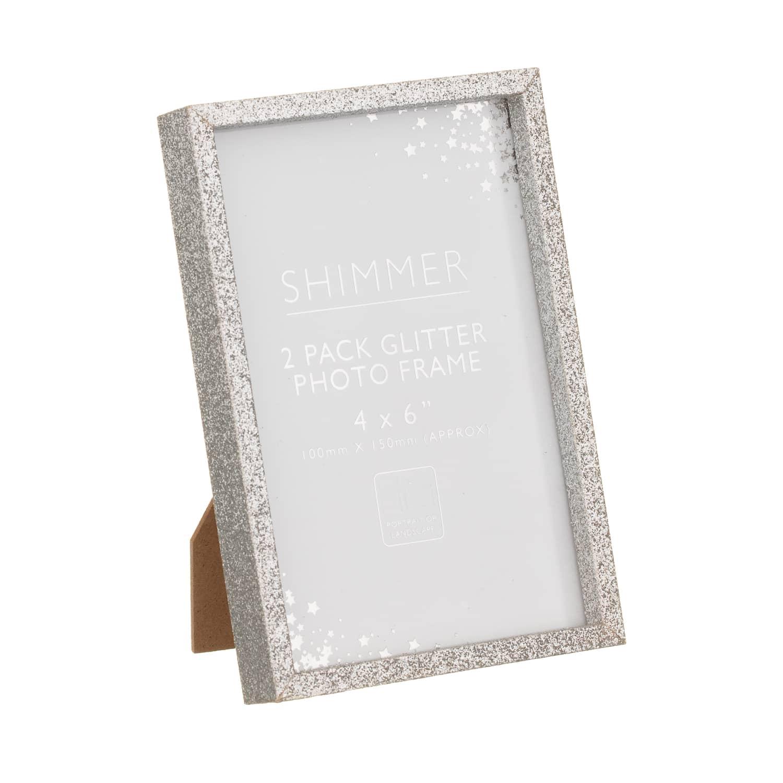 Glitter Photo Frames 4 X 6 2pk Home Accessories B M