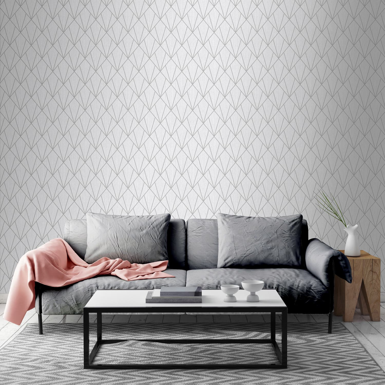 Indra Silver Wallpaper Geometric Wallpaper B M