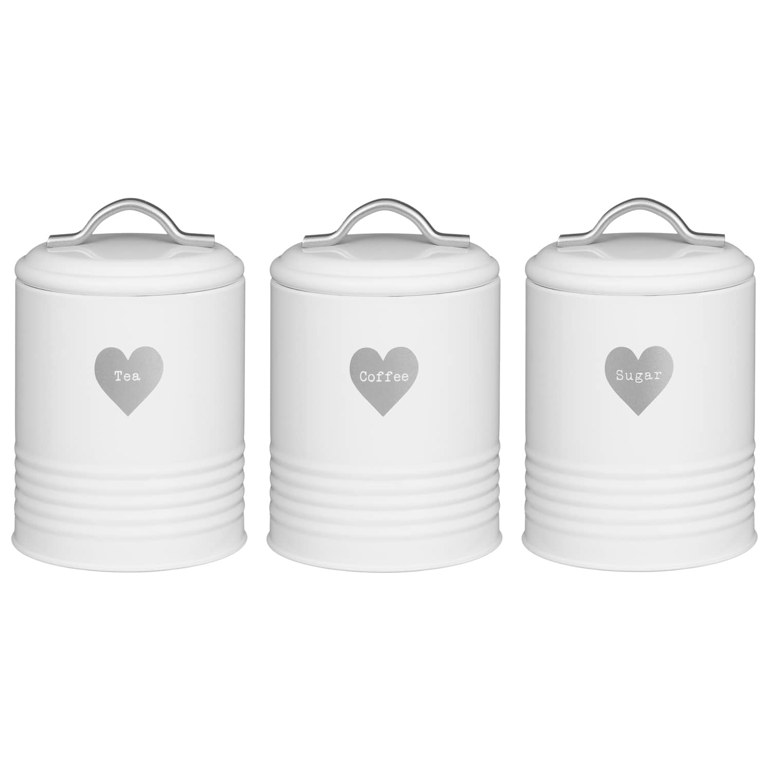 SET OF 3 EMBOSSED HEART TEA COFFEE SUGAR JARS WHITE KITCHEN STORAGE TIN CANISTER