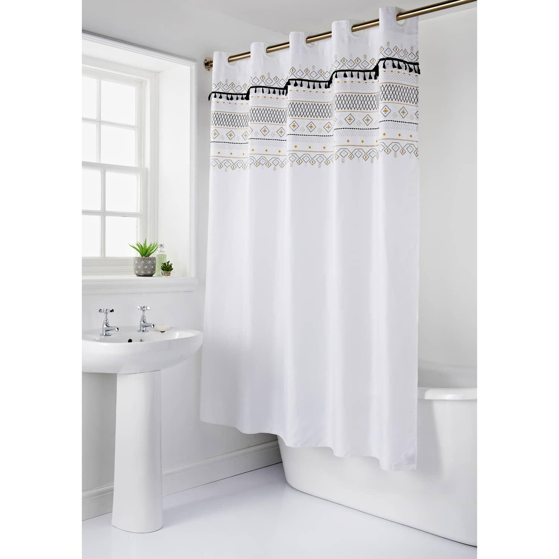 Skandi Tassel Shower Curtain Bathroom Accessories B M