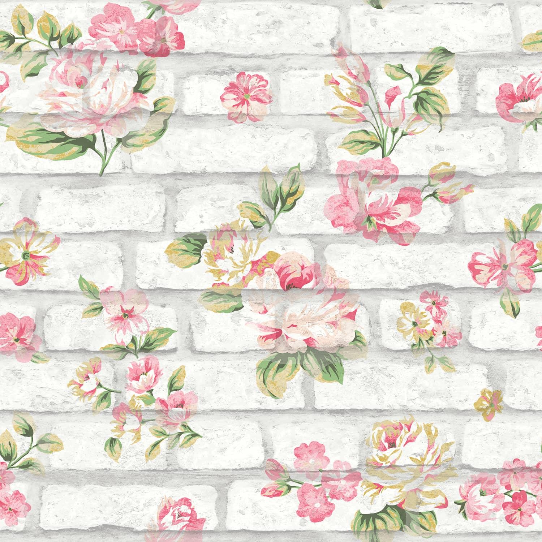 Shabby Chic Brick Pink & White Wallpaper | Cheap Wallpaper ...