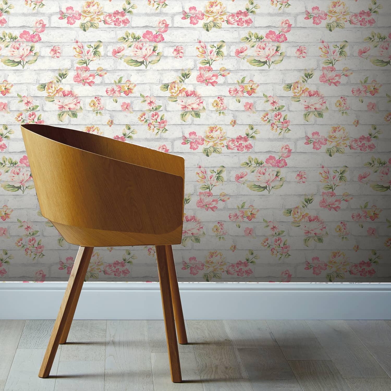 Shabby Chic Wallpaper Uk shabby chic brick pink & white wallpaper