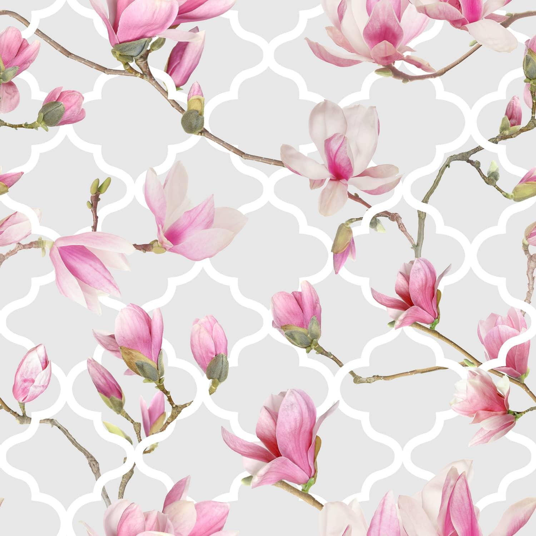 Magnolia Trellis Grey Pink Wallpaper Cheap Wallpaper B M