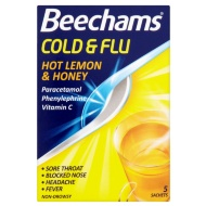 Beechams Cold & Flu Sachets 5pk - Honey & Lemon