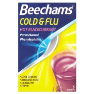 Beechams Cold & Flu Sachets 5pk - Blackcurrant