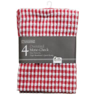 Mono Check Oversized Tea Towels 4pk - Red