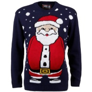 Mens Christmas Jumper - 3D Belly Santa