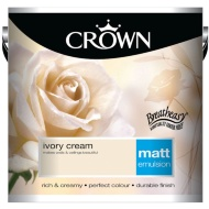 Crown 2.5L Ivory Cream Matt Emulsion Paint