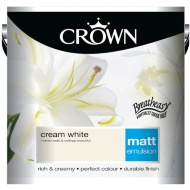 Crown 2.5L Cream White Matt Emulsion Paint
