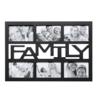 6pc Word Multi Frame - Black - Family