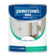 Johnstone's One Coat Satinwood Paint - Brilliant White 750ml