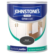 Johnstone's One Coat Satinwood Paint - Black 750ml