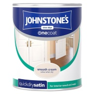 Johnstone's One Coat Satinwood Paint - Smooth Cream 750ml