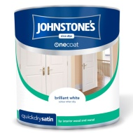 Johnstone's One Coat Satinwood Paint - Brilliant White 2.5L