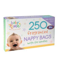 250 Fragranced Nappy Bags with Tie Handles