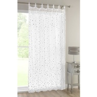 Popsicle Tab Top Voile Curtain 138 x 222cm - White with Stars