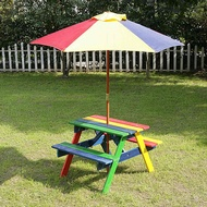 Kids Bench & Parasol Set