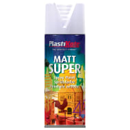 Plastikote Spray Paint - Super Matt White 400ml