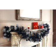 Pre-Lit Christmas Garland with Glitter Tips - Black & Silver