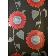 Fine Decor Sunflower Red-Black Motif Wallpaper