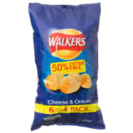 Walkers Cheese and Onion Crisps 6 x 25g