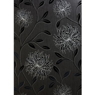 Belgravia Decor Dahlia Motif Black Wallpaper