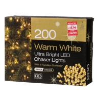 200 Ultra Bright LED Christmas Chaser Lights - Warm White