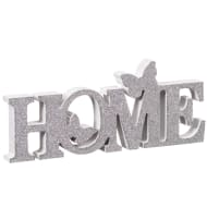 Home Butterflies Word Block - Silver