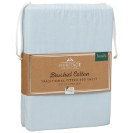Brushed Cotton Traditional Double Sheet Set - Blue