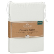Brushed Cotton Traditional Double Sheet Set - Cream
