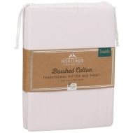 Brushed Cotton Traditional Double Sheet Set - Pink