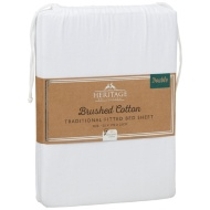 Brushed Cotton Traditional Double Sheet Set - White