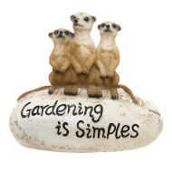 Meerkat Family On Stone Decoration Gardening is Simples