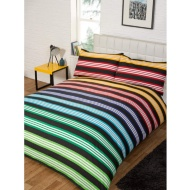 New York Stripe Reversible Single Duvet Set - Multi Black
