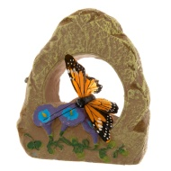 Feather Butterfly Stone Decoration Orange