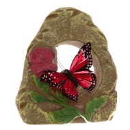 Feather Butterfly Stone Decoration Red