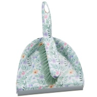 Printed Dustpan & Brush - Green Floral