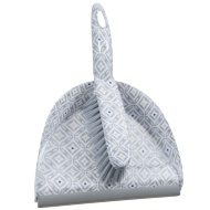 Printed Dustpan & Brush - Grey Geo