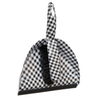 Printed Dustpan & Brush - Black & White Check