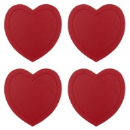 Heart Leatherette Coasters 4pk