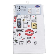 Oxford Velour Tea Towels 3pk - Jars