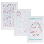 Oxford Velour Tea Towels 3pk - Happy When I Bake