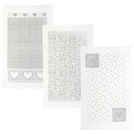 Oxford Velour Tea Towels 3pk - Grey Hearts